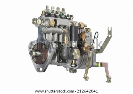 photo the Fuel pump of a high pressure the diesel on a white background - stock photo