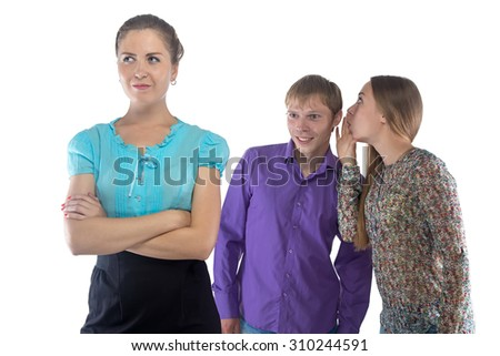 Photo two gossiping people about third person on white background - stock photo