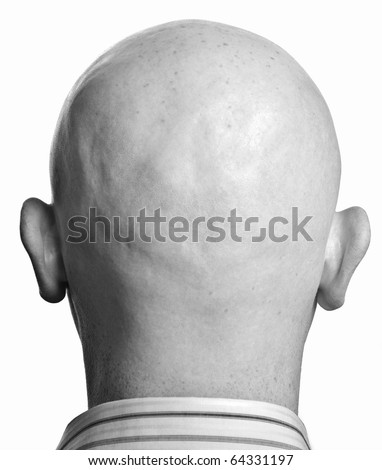 photo two tone close up male man shaved bald head back side black white