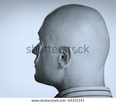photo two tone male head side portrait close up - stock photo