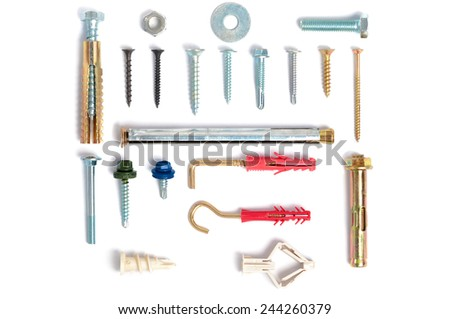 Photo various types of fastening elements for different materials. - stock photo