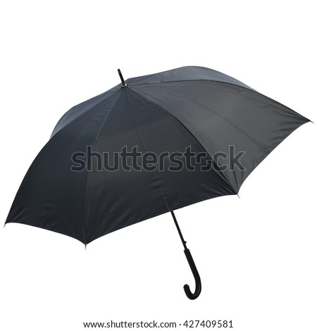 Photo vintage Black umbrella  isolated on white background. This has clipping path in horizontal orientation, nobody. - stock photo