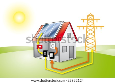photo-voltaic  display  model, tower	 photovoltaic sun provider green energy environment ecological silicium  power inverter converter electric roof plug jack outlet point socket meter reader electric - stock photo