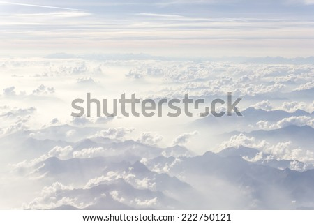 Photo was taken on the airplane on altitude of about 33000 feet - stock photo