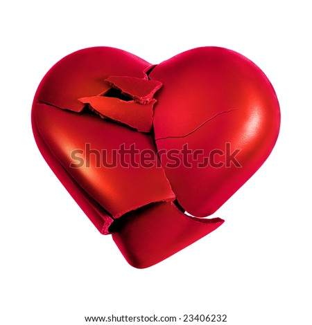 Photo with a broken heart isolated in white background - stock photo