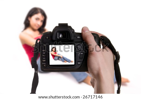 photo with beautiful woman in white background - stock photo