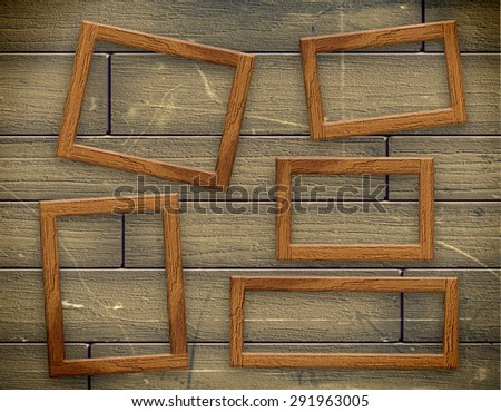 Photo wood frame on vintage old wooden wall - stock photo
