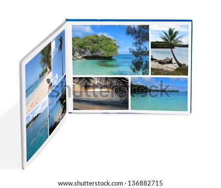 Photobook with beach photos isolated on white  - stock photo
