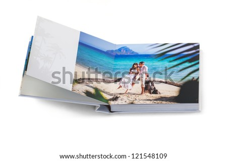 photobook with the couple in love - stock photo