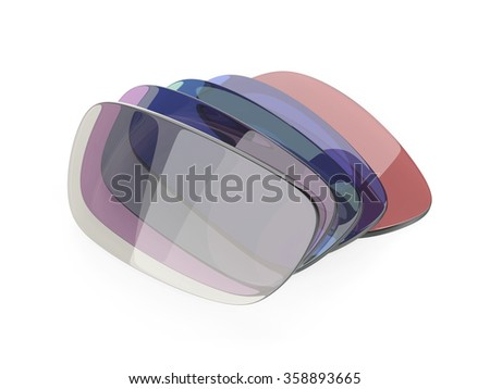 Photochromic and colorful eyeglasses corrective lens - stock photo