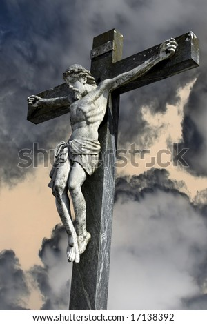 Photocomposition of Jesus Christ dying on the cross. - stock photo