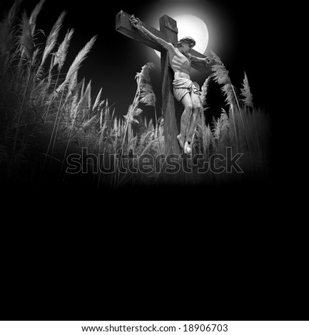 Photocomposition of Jesus Christ dying on the cross.Room for latter text. - stock photo