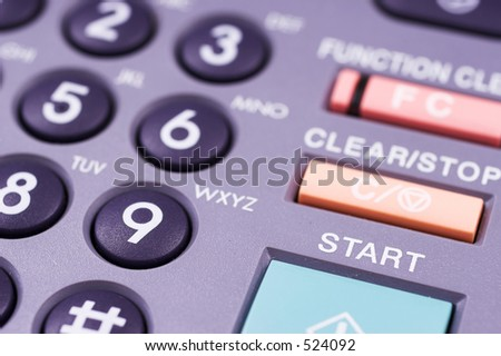 photocopier keypad with green start button - Shallow Depth of Field