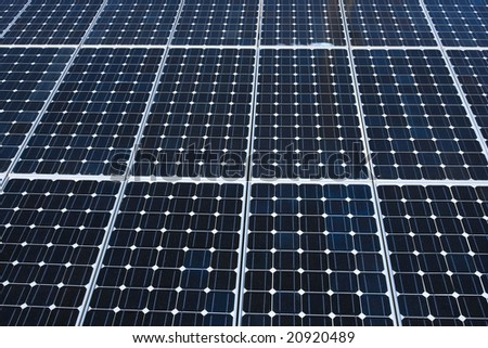 Photoelectric cells of a solar panel. - stock photo