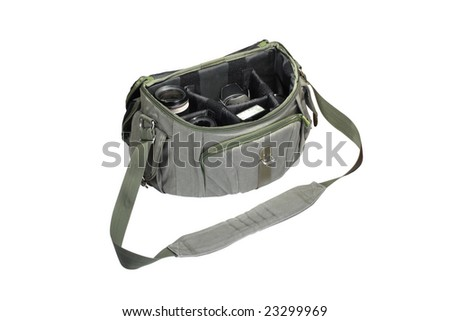 Photograph bag under the light background