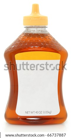 Photograph Blank label 40 oz plastic bottle jar of honey with blank label for text. - stock photo