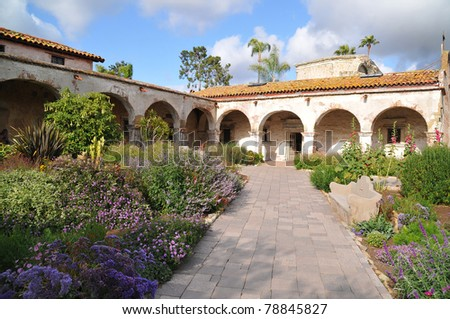 Photograph is of one of the main pathways in The Mission located in California - stock photo