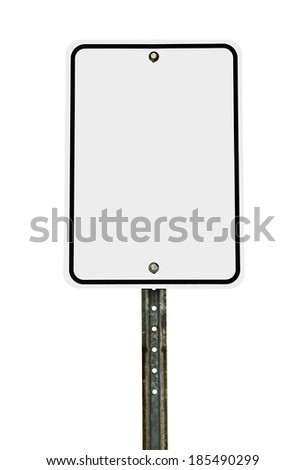 Photograph of a blank rectangular shaped white traffic sign with black border. All text letters have been removed. Isolated on a white background - stock photo