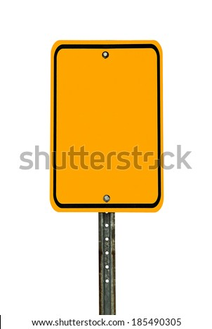 Photograph of a blank rectangular shaped yellow caution traffic sign with black border. All text letters have been removed. Isolated on a white background.   - stock photo