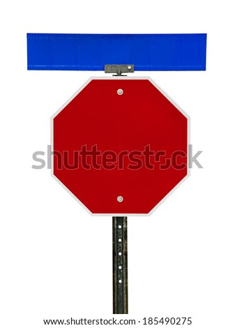 Photograph of a blank red traffic stop sign and a blue street sign above it.  All text letters have been removed. Surface grid pattern has be left intact.  Isolated on a white background.    - stock photo