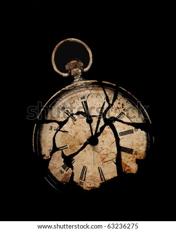 photograph of a fob watch, layered with textures of broken slate and stained paper - concept of mortality or time's up - stock photo