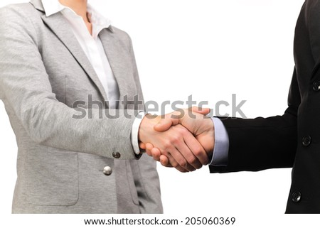 photograph of a handshake between businessman and woman business - stock photo