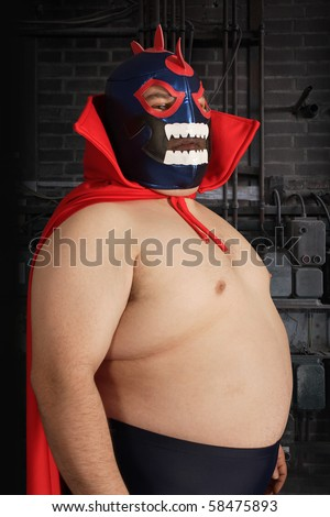 Photograph of a Mexican wrestler or Luchador. - stock photo