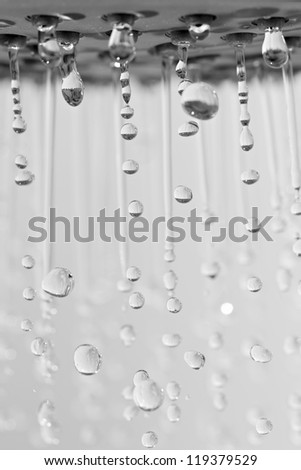 Photograph of a shower head showing drops and streams of water - stock photo
