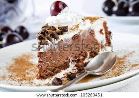 Photograph of a tasty piece of black forest cake - stock photo
