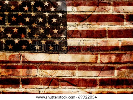 photograph of a worn American flag layered with textures of a brick wall and broken slate - concept of cracked america - stock photo