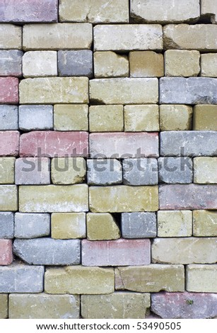 Photograph of an old destructed wall of bricks - stock photo
