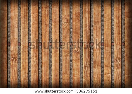 Photograph of Bamboo Place Mat Bleached and Mottled Vignette Grunge Texture Detail.