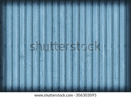 Photograph of Bamboo Place Mat, Blue Stained, Bleached and Mottled, Vignette Grunge Texture Detail.