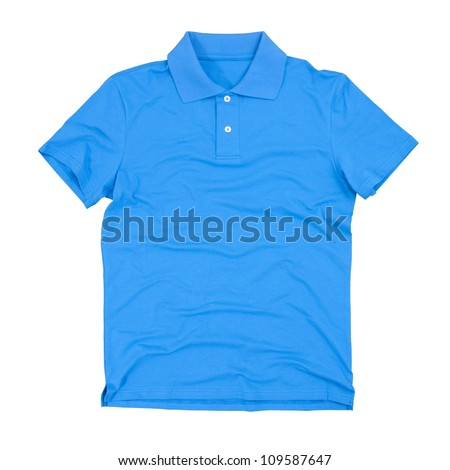 Photograph of blank polo t-shirt isolated on white. Clipping paths included.
