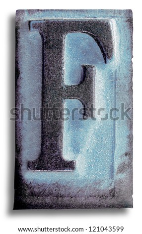 Photograph of Blue Rubber Stamp Letter F