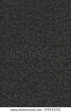 Photograph of Charcoal Black, woven woolen fabric grunge texture sample - stock photo