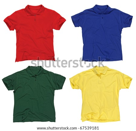 Photograph of four blank polo shirts, red, blue, green and yellow.  Clipping paths included.  Ready for your design or logo. - stock photo