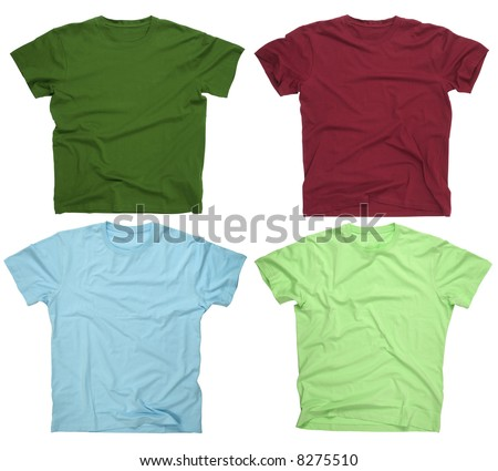 Photograph of four blank t-shirts, burgundy, dark green, lime, and light blue. Ready for your design or logo. - stock photo