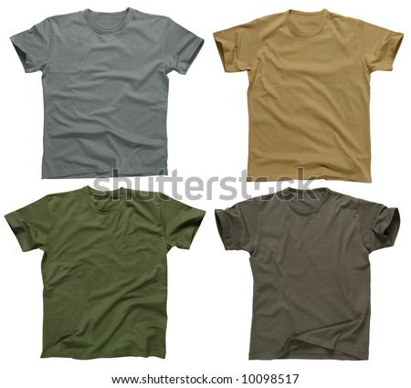 Photograph of four blank t-shirts, grays, beige, and army green.  Clipping path included.  Ready for your design or logo. - stock photo