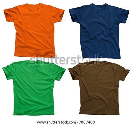 Photograph of four blank t-shirts, green, dark blue, brown, and orange.  Ready for your design or logo. - stock photo