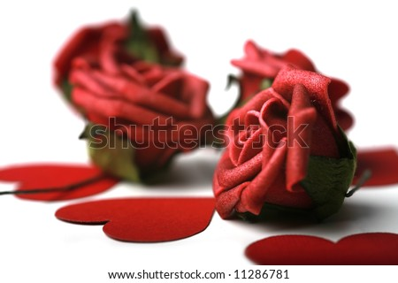 Photograph of hearts and roses. Valentine's day theme. - stock photo