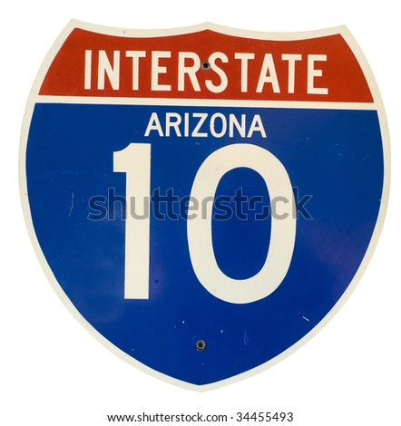Photograph of Interstate 10 Arizona road sign - stock photo