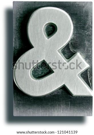 Photograph of Metal Letterpress Ampersand - stock photo
