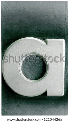 Photograph of Metal Letterpress Letter a - stock photo