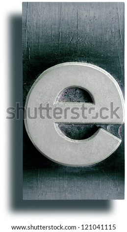 Photograph of Metal Letterpress Letter e - stock photo