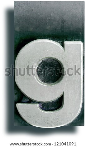 Photograph of Metal Letterpress Letter g - stock photo