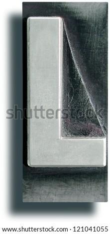 Photograph of Metal Letterpress Letter L - stock photo
