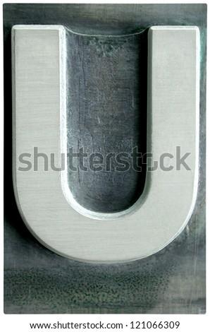 Photograph of Metal Letterpress Letter U - stock photo