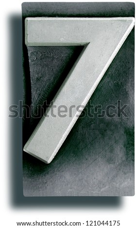 Photograph of Metal Letterpress Number 7 - stock photo