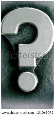 Photograph of Metal Letterpress Question Mark - stock photo